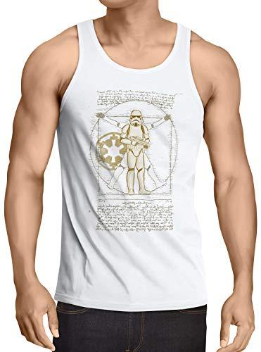 A.N.T. Another Nerd T-Shirt A.N.T. Vitruvianischer Stormtrooper Return Herren Tank Top Empire Imperium sturmtruppen, Größe:XL, Farbe:Weiß