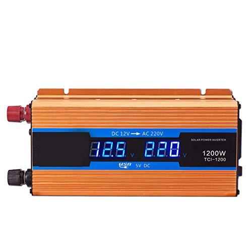 XMAGG1200W Reiner Sinus Spannungswandler Wechselrichter 12V auf 230V Konverter Pure Sine Power Inverter mit USB-Ladeanschluss und Direktanschluss an Autobatterie 1500w Power Inverter