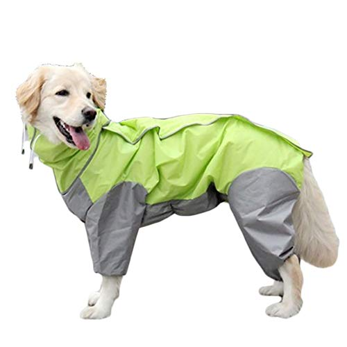 TFENG Hunde Regenmantel mit Abnehmbarem Hoodie, Verstellbarer Outdoor-Tunnelzug Hundemantel, Wasserdichte Hundejacke Regenjacke mit Kapuze und Kragenloch, 10 Größen (Grün) - Trockner Kapuze
