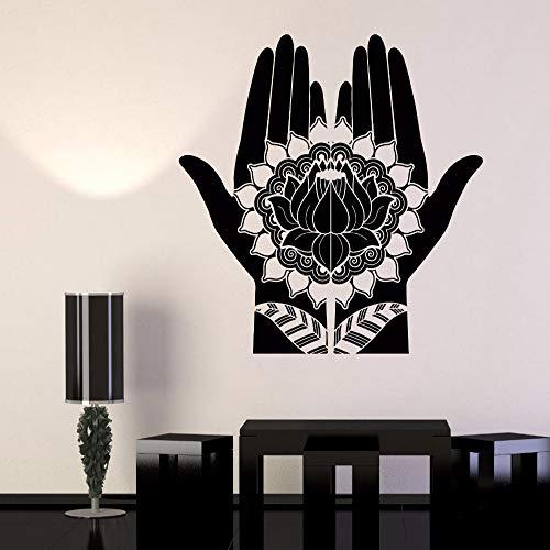 Zhuhuimin nuovo design floreale vinile adesivo decalcomania mehndi decorazione mani di bellezza hennè loto adesivi rimovibile yoga room home decor hot 1 56x58 cm
