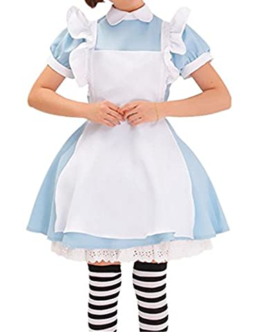 Neue Alice im Wunderland anime Kellnerin Kostuem Lolita Kleider Dienstmaedchen-Outfit Blau, Gr.M (Kellnerin Kostüm Kind)