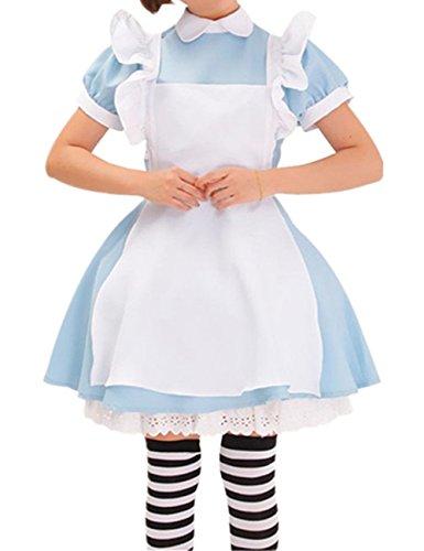 Neue Alice im Wunderland anime Kellnerin Kostuem Lolita Kleider Dienstmaedchen-Outfit Blau, ()