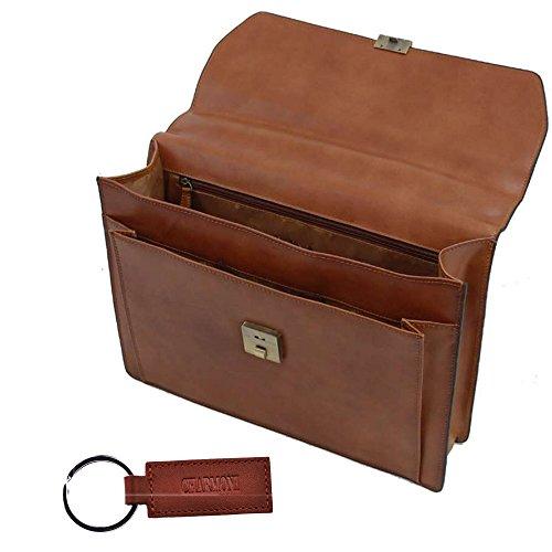 Charmoni–Handtuch Schulranzen Tasche 1192Seiten Hardcover aus Spaltleder Leder Rindsleder NEU Tahis Braun - braun