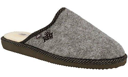 RBJ Herren Natur Wollfilz Pantoffeln für Wohlgefühl - Warm, Atmungsaktiv, natürlich, Handarbeit, Qualität (44, Grau 905)
