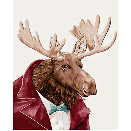 Waofe Mr. Elch Kostüm Tier Diy Digital Malen Nach Zahlen Auf Leinwand, Moderne Malerei Wandkunst Leinwand Malerei Einzigartiges Geschenk Home Decor-No Frame (Der Land Frau Kostüme)