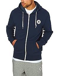 Converse Homme Noyau Zip Logo Hoodie, Bleu