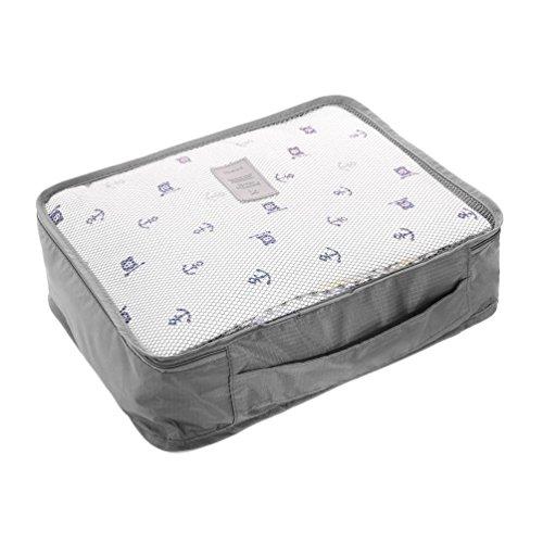 6 Set Pack Organizer Taschen für Koffer 6er Kleidertaschen für Kleidung Unterwäsche Socken 4 Farben Blau/Grau/Dunkelblau/Rosa Grau