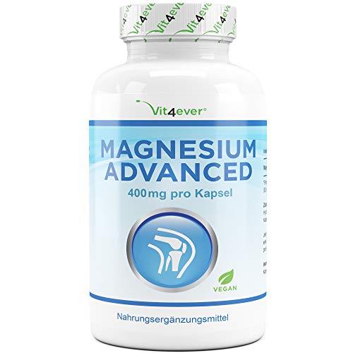 400 Mg Nahrungsergänzungsmittel Tabletten (Vit4ever® Magnesium Advanced - 365 Kapseln - 665 mg je Kapsel davon von 400 mg elementares (reines) - 1 Jahresvorrat - Laborgeprüft - 100% Vegan - Hochdosiert - Ohne unerwünschte Zusätze)