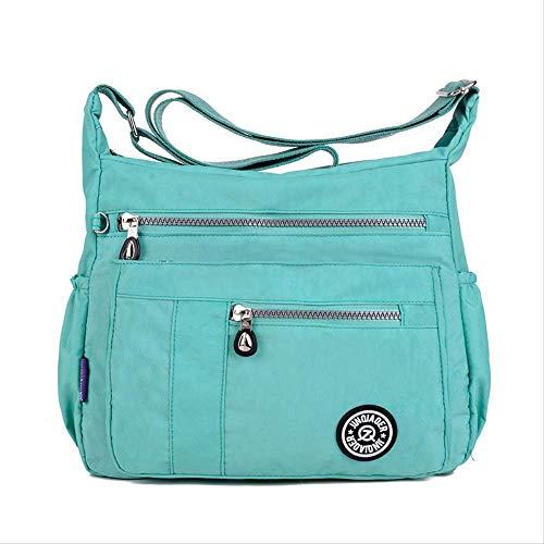 ZYF996 Einfache Nylontasche Damen Diagonal Kreuz Tasche Schulter Wasserdicht Nylontasche Sommer Smaragdgrün -