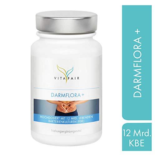 Darmflora + - Mit 12 Mrd. KBE zur Darmkur - 60 Kapseln - Pro Darmflora & Verdauung - Synbiotikum mit 7 Bakterienstämmen - Vegetarisch - Ohne Magnesiumstearat - Made in Germany -