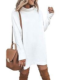 c9569ede52b7 ECOWISH Damen Rollkragen Strickkleid Einfarbig Pullover Kleid Casual Lose  Herbst Kleid