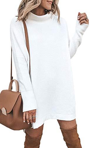 ECOWISH Damen Rollkragen Strickkleid Einfarbig Pullover Kleid Casual Lose Herbst Kleid Weiß M