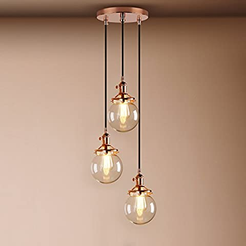Pathson Industrial Modern Vintage Loft Bar Edison Cluster Multi-lights Switch Chandelier Glass Globe Shade 3 Lights Hanging Ceiling Pendant Light Lamp for Island Living Room Dining Room Bedroom Office E27 Screw Base