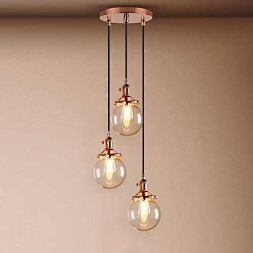 Kupfer-glas-lampe (Pathson Retro Design 3 Kugeln Klar Glas innen Pendelleuchte Hängeleuchte Vintage Industrie Loft-Pendelleuchte Hängelampen Hängeleuchte Pendelleuchten (Kupfer Farbe))