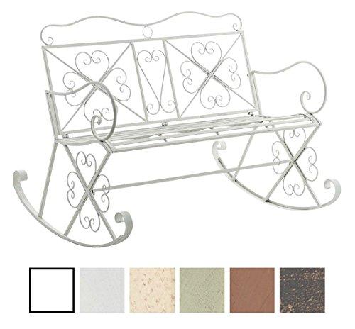 CLP Garten-Bank, 2er Schaukelstuhl SILLY, Eisen lackiert, Design nostalgisch antik, ca 120 x 45, Höhe 95 cm Weiß