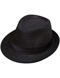 0ed929ac694 Minshao Kids Straw Jazz Hat Summer Children Beach Panama Trilby Fedora Hat  Gangster Cap Pink