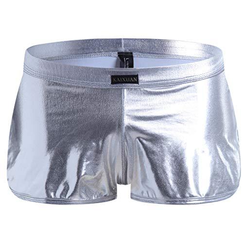 Silber Leder Slip (Dream Room Herren Boxershorts Retroshorts Hipster Fitted Männer Leder Tanga Boxershorts Boxer Briefs Leder Shorts Pants Hose Reizwäsche Slips Unterwäsche (M, Silber))