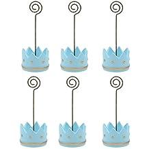 PIXNOR Coloque la tarjeta nombre tabla Memo porta pinzas para Baby fiesta Pack de 6 (azul)