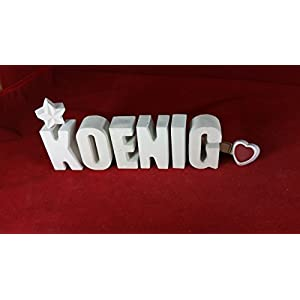 Beton, Steinguss Buchstaben 3 D Deko Schriftzug Namen KOENIG als Geschenk verpackt!