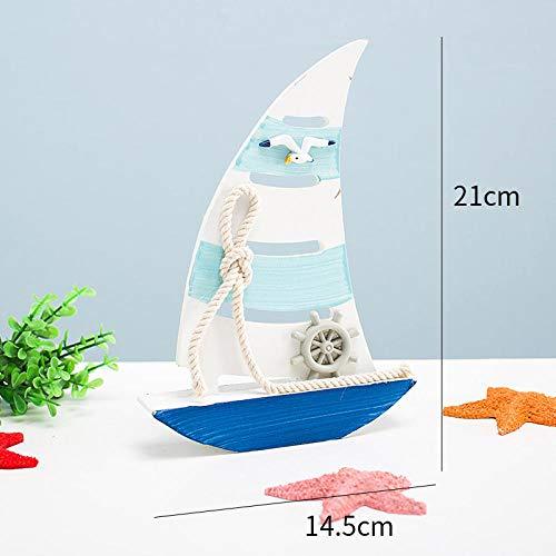 hacpigbb Estatuas Velero de Madera Modelo velero velero de Playa Artesanal Decorativo...