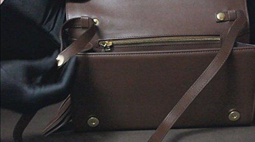FERETI echtes Leder Damen Henkeltaschen, Schultertaschen, Bolt-Bags, Handtaschen, Umhängetaschen, Soft Leder Braun, Mittelbraun, (SCHWARZ) BRAUN