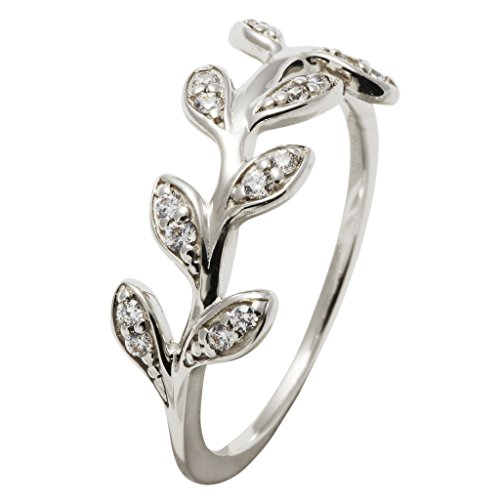 gooix 943-06293 Damen Ring Ranke Sterling-Silber 925 Silber Weiß Zirkonia 17,8 mm Größe 56