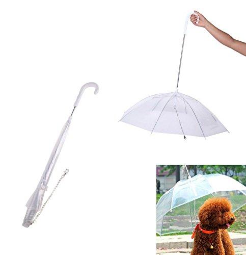 Takestop® Paraguas Portátil Transparente para perro Dog Animales Mascotas anti viento lluvia correa collar sustituye a impermeable