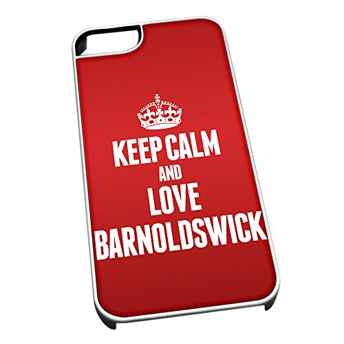 Duke Gifts Bianco Cover per iPhone 5/5S 0042 Red Keep Calm And Love Barnoldswick