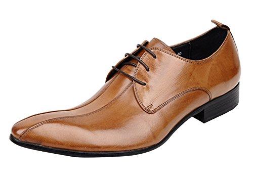 WOUFO chaussures de ville homme Cuir supérieur Tête pointue Casual ou formel Marron