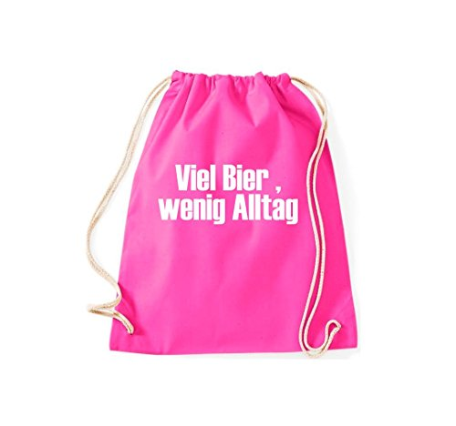 Turnbeutel Viel Bier, wenig Alltag Gymsack Kultsack Pink