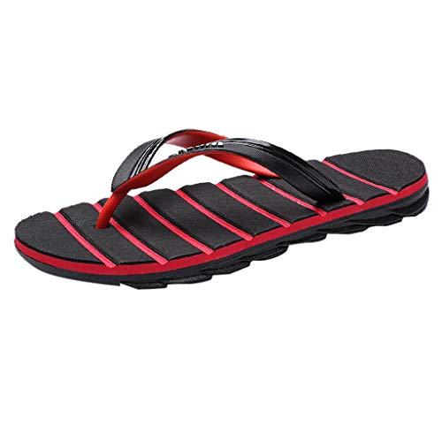 Sommer Männer Flip Flop Sandale Casual Outdoor Rutschfeste Strand Slipper Badeschuhe Hausschuhe Slippers Schwarz Rot 40-45