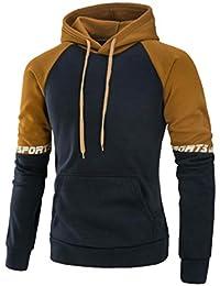 75f71a3cc57 Covermason Sweat-Shirt à Capuche Homme Manches Longues Hiver Slim Fit  Patchwork Sweats à Capuche