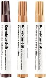 AGT Möbelkorrekturstift: Korrektur-Stift für Möbel aus Holz & Furnier, 3er-Set (Holzreparaturstift)