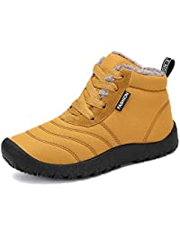 2d59d9a8d859 Voovix Boys Girls Winter Shoes Kids Snow Boots Warm Fur Lined Ankle Boots Water  Resistant Winter