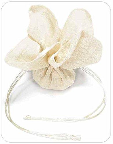Tüll Konfekt aus Baumwolle Elfenbein in 20Stück a quadratisch mit Zugband-Verschluss Verwendung auch als Gastgeschenk Hochzeit Zeremonie Taufe Hochzeit