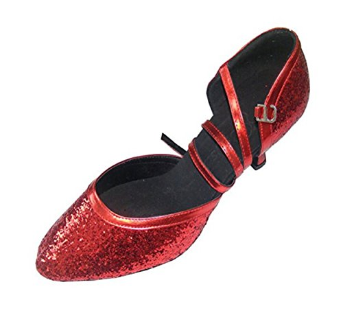 Pobofashion Modern Dance Schuhe Damen-Tanzschuhe mit roten Pailletten (EU40, Rot)