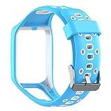 Waotier für Tomtom Runner 3 Armband mit Gehäuse Schutzhülle Silikon Armband Kompatibel für Tomtom runner3 runner2 Golfer2 Spark3 Spark Cardio Music Armband mit Edelstahl Verschluss (Blau)