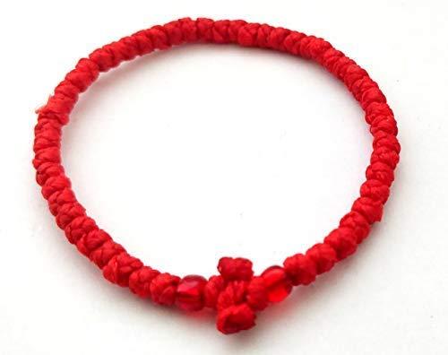 Gebetsschnur/Komboskini für den griechisch-orthodoxen Glauben, dünn, rot