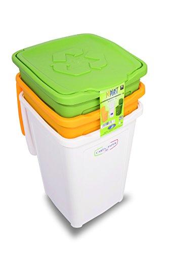 Duplast 7463 50L- Cubo de basura para reciclaje diferenciado, rectangular, colores verde, blanco y amarillo...