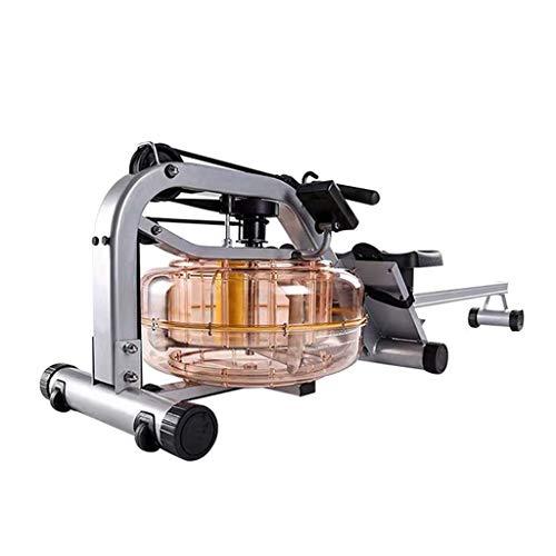 Rowing Machines Wasser Rudergerät Trac Glider Cardio Fitnessgeräte Wasserbeständigkeit mit LCD-Display 440 LB Gewicht Kapazität for Home Gym (Color : One Rail-Silver)