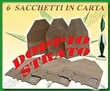 6 SACCHI SACCHETTI IN CARTA DOPPIO PER ASPIRAPOLVERE FOLLETTO VORWERK 130 131