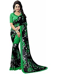 Ishin Faux Georgette Black & Green Printed Party Wear Wedding Wear Casual Wear Festive Wear Bollywood New Collection...