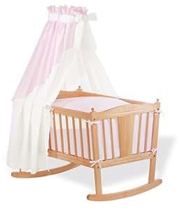 Pinolino Drap d'enfant pour Berceau - housse de couette 80x80 cm - taie d'oreiller 35x40 cm - Rose