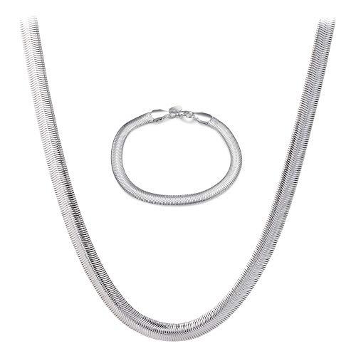 en Schmuckset Halskette Schlangenkette flach Kette Armband 925 Silber pl 60cm lang 2344 ()