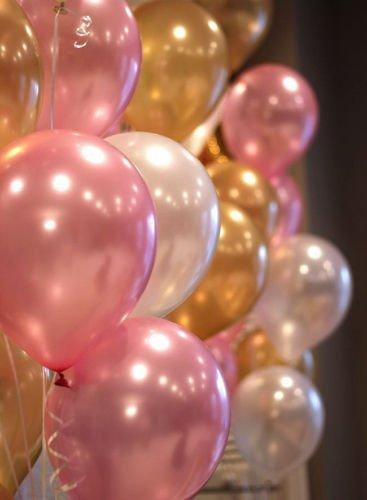 Themez Only Premium Metallic Balloons (Pink + White + Gold), Pack of 51