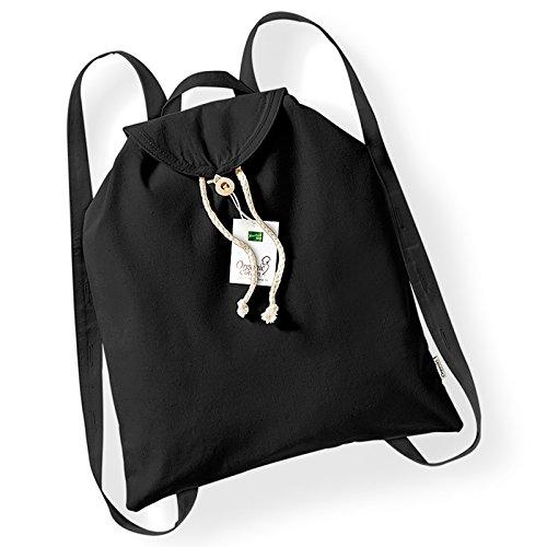 Westford Mill Organic Festival Backpack Adjustable Shoulder Straps Wooden Buttons Grab Handle (Black)