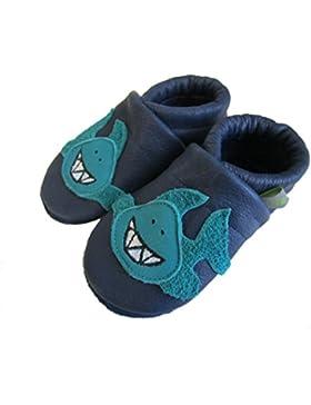 Nilsson´s® Lederpuschen Jungen Hai in blau hergestellt in Deutschland pflanzlich gegerbt Krabbelschuhe Babyschuhe...
