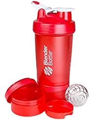 BlenderBottle ProStak - Botella de agua y mezcladora, color rojo