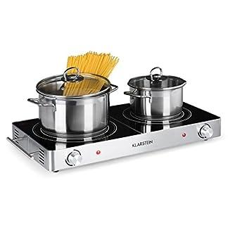 Klarstein VariCook Duo – Placa de cocina, Hornillo eléctrico, Cocina eléctrica, Potencia 3000W, Cocción por infrarrojos, Radiador halógeno, Fogones de 20 y 16,5cm, Acero inoxidable, Negro