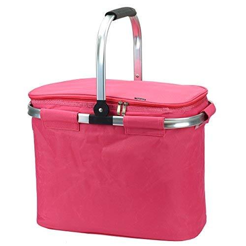 Thermo-Einkaufskorb, XXL Volumen 40 Liter, 45x25x35cm (Pink)